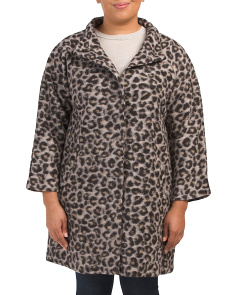 Plus Wool Leopard Coat