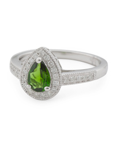 14k White Gold Chrome Diopside And Diamond Ring
