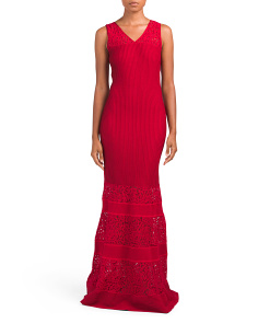 Rubin Knit V Neck Fit & Flare Gown