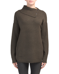 Envelope Neck Button Collar Sweater