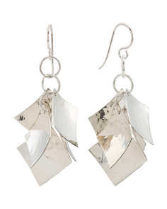 Handmade In Mexico Sterling Silver 5 Square Earrings