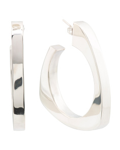 Handmade In Mexico Sterling Silver Triangle Hoop Earrings