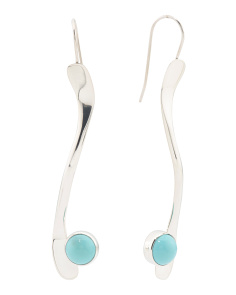 Handmade In Mexico Sterling Silver Turquoise Stick Earrings