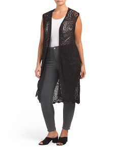 Plus Crochet Duster Vest