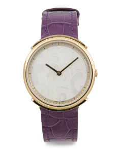 Women's Swiss Made Logomania Leather Strap Watch