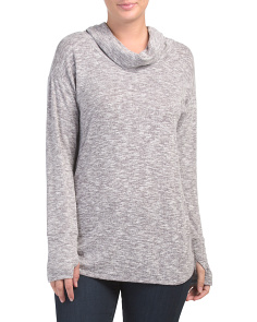 Cozy Cowl Neck Round Hem Pullover Sweater