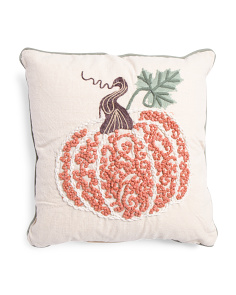Made In India 18x18 French Knot Pumpkin Pillow