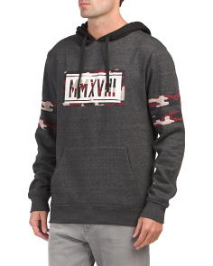 Fleece Hoodie With Camo Sleeve Bands