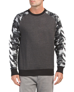 Fleece Crew Neck Top With Camo Sleeves