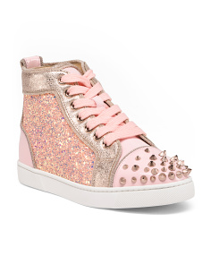 Made In Italy Glitter High Top Leather Sneakers