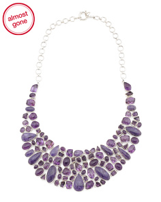Made In India Chaorite And Amethyst Bib Necklace