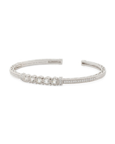 Sterling Silver White Topaz And Cz Cuff Bracelet