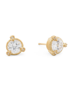 14k Gold Plated Sterling Silver 100 Facet Cz Stud Earrings