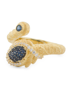 14k Gold Plated Sterling Silver Blue Sapphire Virgo Ring