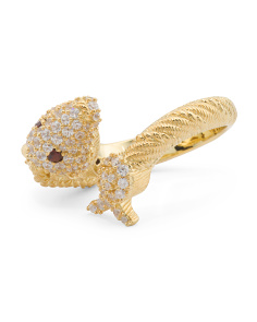 14k Gold Plated Sterling Silver Garnet And Cz Capricorn Ring