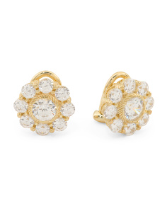 14k Gold Plated Sterling Silver Cz Stud Clip On Earrings