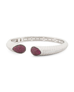 Sterling Silver And Ruby Open Cuff Bracelet