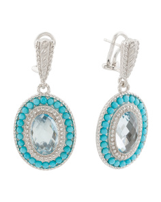 Sterling Silver Blue Topaz And Turquoise Earrings