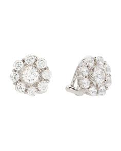 Sterling Silver Cz Brilliant Stud Clip On Earrings