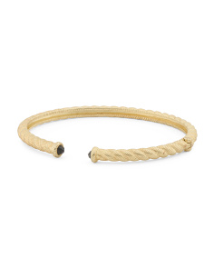 14k Gold Plated Sterling Silver Black Spinel Twist Bracelet