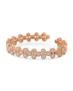 14k Rose Gold Plated Sterling Silver Cz Cuff Bracelet