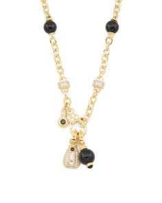 14k Gold Plated Sterling Silver Onyx Necklace