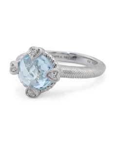 Sterling Silver Blue Topaz And Cz Ring
