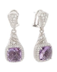 Sterling Silver Amethyst And Cz Drop Earrings