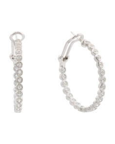 Sterling Silver Cz 188 Facet Hoop Earrings