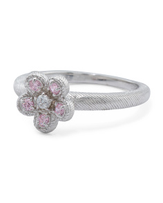 Sterling Silver Pink Cz Flower Ring