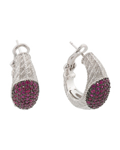 Sterling Silver Pave Ruby Earrings