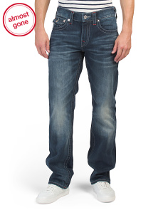 Flap Pocket Contrast Stitching Straight Jeans