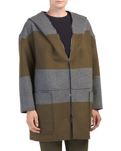 Made In Italy Color Block Wool Blend Coat