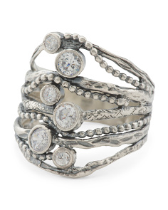 Made In Israel Oxidized Sterling Silver And Cz Multi Row Ring