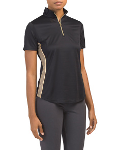 Mesh Panel Zip Golf Polo