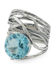 Made In Israel Oxidized Sterling Silver Aquamarine Ring