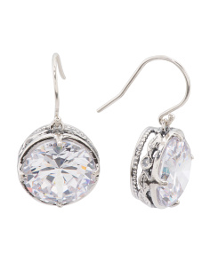 Made In Israel Sterling Silver Cz Drop Earrings