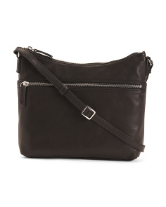 Mary Scoop Double Zipper Leather Crossbody