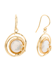 Made In Israel 14k Gold Plated Sterling Silver Pearl Earrings