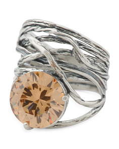Made In Israel Oxidized Sterling Silver Citrine Cz Ring