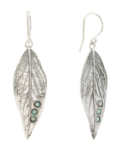 Made In Israel Sterling Silver Opal Leaf Earrings