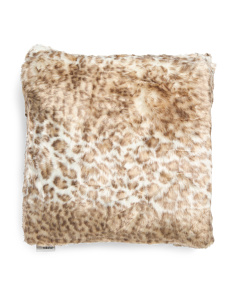 20x20 Faux Fur Snow Leopard Pillow