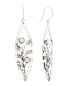 Made In Israel Sterling Silver Pearl Leaf Earrings