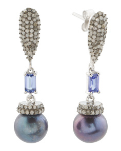 Made In India Silver Pearl Diamond And Tanzanite Earrings