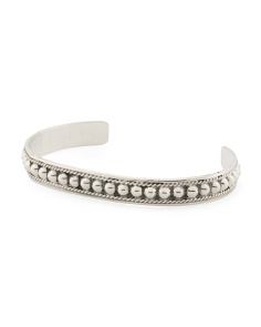 Made In Mexico Sterling Silver Beaded Cuff Bracelet