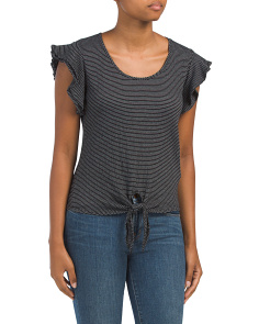 Textured Striped Tie Front Top