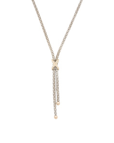 Made In Mexico 14k Gold And Sterling Silver Cz X Lariat Necklace