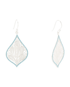 Made In India Sterling Silver Turquoise Filigree Earrings