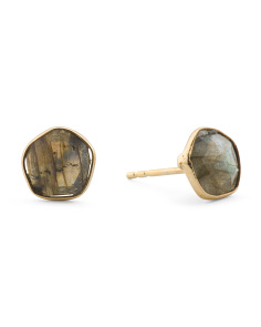 Made In India Sterling Silver Labradorite Stud Earrings