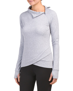 Yoga Knit Asymmetric Zip Long Sleeve Top